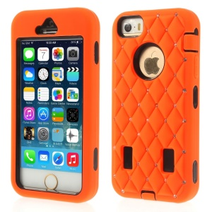 Diamond Starry Sky Silicone & PC Hybrid Case Shell for iPhone 5s 5 - Orange