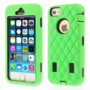 Diamond Starry Sky Silicone & PC Hybrid Protective Case for iPhone 5s 5 - Green