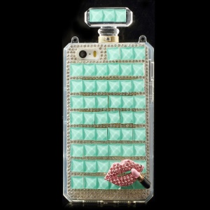 Cyan for iPhone 5s 5 Bling Diamond Lip Perfume Bottle TPU Gel Case