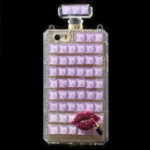 Purple for iPhone 5s 5 Bling Diamond Lip Perfume Bottle TPU Gel Cover