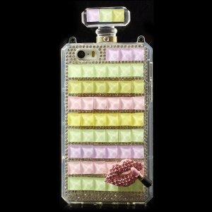 Colorful for iPhone 5s 5 Bling Diamond Lip Perfume Bottle TPU Gel Shell