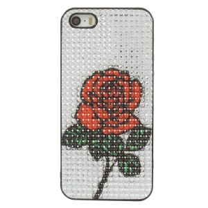 Bling Rhinestone TPU Case for iPhone 5s 5 - Red Rose Flower Pattern
