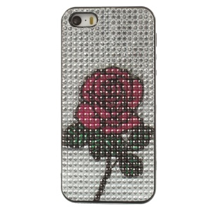Bling Rhinestone TPU Cover for iPhone 5s 5 - Rose Flower Pattern