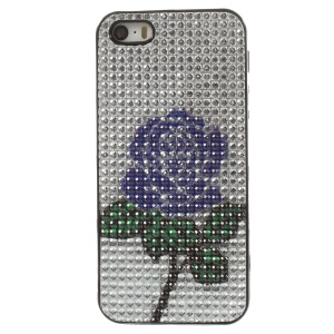 Bling Rhinestone TPU Gel Shell for iPhone 5s 5 - Blue Rose Flower Pattern