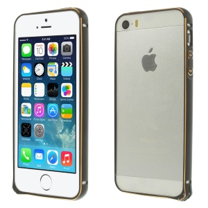 0.7mm Hippocampal Buckle Aluminum Alloy Bumper for iPhone 5s 5 - Black
