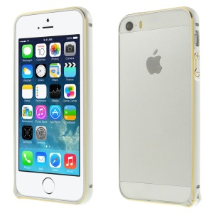 0.7mm Hippocampal Buckle Aluminum Alloy Bumper Case for iPhone 5s 5 - White