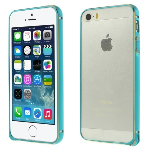 0.7mm Hippocampal Buckle Aluminum Alloy Bumper Backless Case for iPhone 5s 5 - Blue
