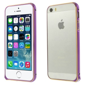 0.7mm Hippocampal Buckle Aluminum Alloy Bumper Backless Cover for iPhone 5s 5 - Purple