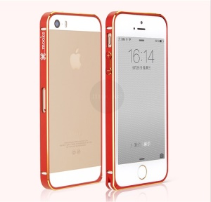 Mooke Elegant 0.7mm Metal Bumper Shell Cover for iPhone 5s 5 - Red