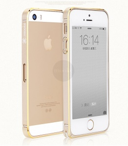 Mooke Elegant 0.7mm Metal Bumper Case Cover for iPhone 5s 5 - Gold