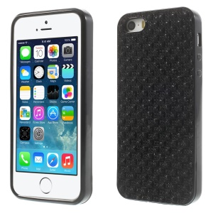 For iPhone 5s 5 Rinestone Flexible TPU Gel Case - Black