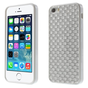 For iPhone 5s 5 Rinestone Flexible TPU Gel Cover - White