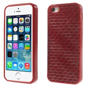 For iPhone 5s 5 Rinestone Flexible TPU Gel Shell - Red