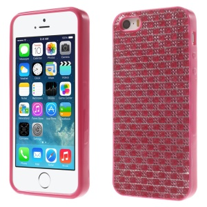 For iPhone 5s 5 Rinestone Flexible TPU Back Shell - Rose