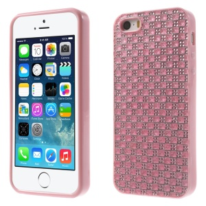 For iPhone 5s 5 Rinestone Flexible TPU Back Cover - Pink