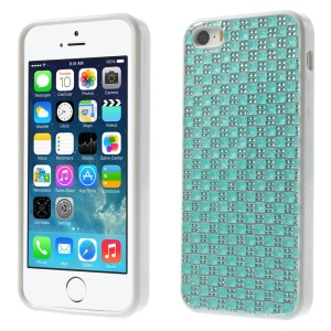 For iPhone 5s 5 Rinestone Flexible TPU Back Shell Cover - Blue