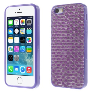 For iPhone 5s 5 Rinestone Flexible TPU Back Case Cover - Purple