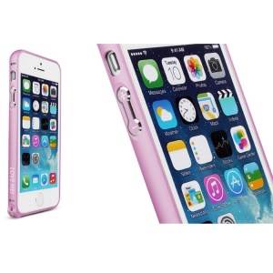 LOVE MEI for iPhone 5s 5 Hippocampal Buckle Curved Metal Frame Case - Pink