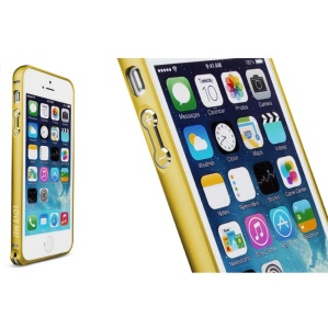LOVE MEI for iPhone 5s 5 Hippocampal Buckle Curved Metal Frame Cover - Yellow