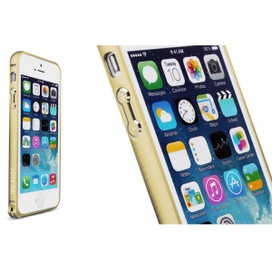 LOVE MEI for iPhone 5s 5 Hippocampal Buckle Curved Metal Frame Shell - Champagne