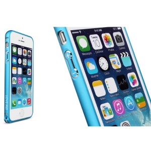 LOVE MEI for iPhone 5s 5 Hippocampal Buckle Curved Metal Bumper Frame Cover - Light Blue