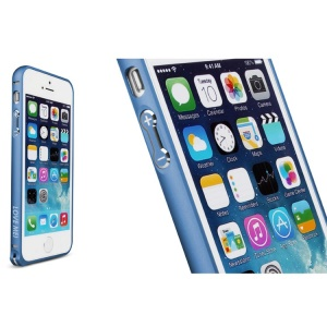 LOVE MEI for iPhone 5s 5 Hippocampal Buckle Curved Metal Bumper Frame Shell - Deep Blue