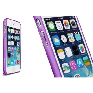 LOVE MEI for iPhone 5s 5 Hippocampal Buckle Curved Metal Bumper Backless Case - Purple