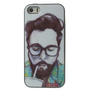 Man Wearing Glasses Having a Drink Two Pieces PC Frame + TPU Hybrid Cover for iPhone 5s 5