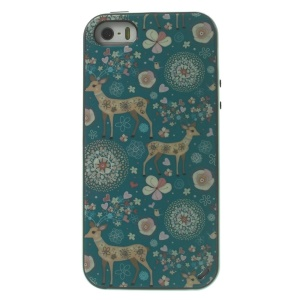 Beautiful Flowers & Cute Deer Two Pieces PC Frame + TPU Hybrid Case Cover for iPhone 5s 5