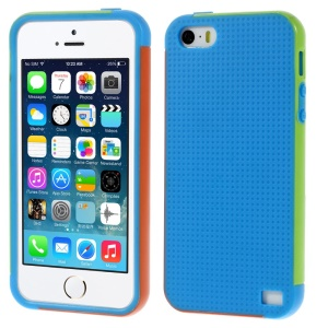 Multi-color Edge PC + TPU Cover Shell for iPhone 5s 5 - Blue