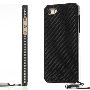 Surplus Wind Screwless Aluminum Metal + Carbon Fiber Hard Case for iPhone 5s 5 - Black