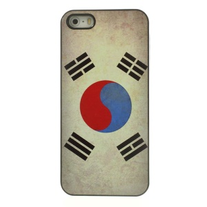 Retro South Korean Flag Pattern Glossy Aluminum Skin Hard PC Case for iPhone 5 5s