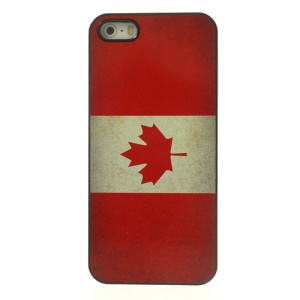 Vintage Canada Flag Glossy Aluminum Coated Hard Back Shell for iPhone 5 5s