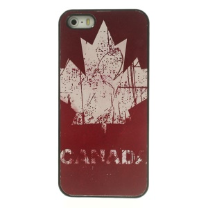 Canada Maple Leaf Retro Pattern Glossy Aluminum Hard PC Case for iPhone 5 5s
