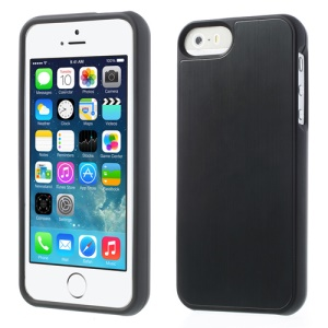 Brushed Aluminum Skin Detachable 2 in 1 Hard Case Cover for iPhone 5s 5 - Black