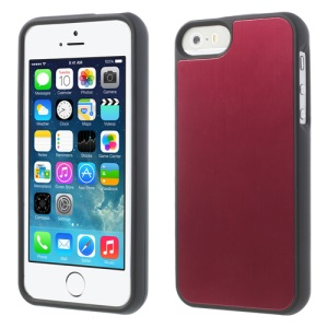 Brushed Aluminum Skin Detachable 2 in 1 Hard Case for iPhone 5s 5 - Red