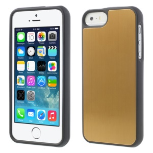 Brushed Aluminum Skin Detachable 2 in 1 Hard Cover for iPhone 5s 5 - Gold