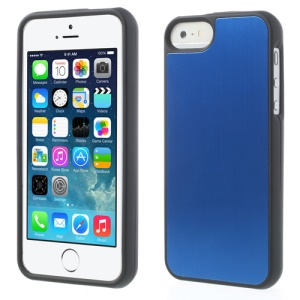 Brushed Aluminum Skin Detachable 2 in 1 Hard Shell for iPhone 5s 5 - Dark Blue