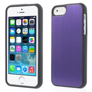 Brushed Aluminum Skin Detachable 2 in 1 Hard Shell for iPhone 5s 5 - Purple