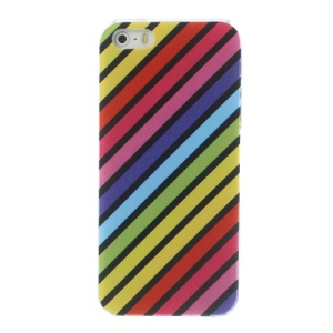 For iPhone 5s 5 PC Hard Phone Case Colorful Diagonal Stripes Pattern