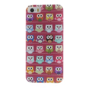 For iPhone 5s 5 Multiple Cute Owls Rose Background Hard Shell