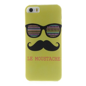 Green Le Moustache & Glasses Plastic Back Cover for iPhone 5s 5