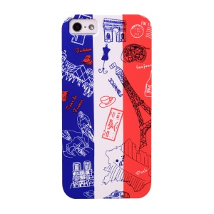UMKU for iPhone 5s 5 France Flag & Tourist Attractions Hard Plastic Case