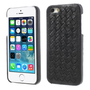 Luxury Weave Design Genuine Leather PC Back Case for iPhone 5s 5 - Black