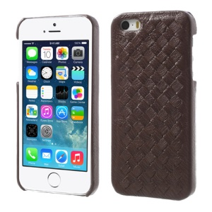 Luxury Weave Design Genuine Leather Plastic Hard Cover for iPhone 5s 5 - Brown