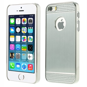 Rhinestone Inlaid Brushed Aluminum Skin Plated Hard Shell Case for iPhone 5s 5 - Silver