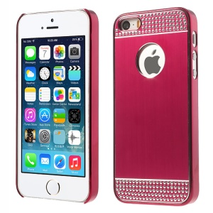 Rhinestone Inlaid Brushed Aluminum Skin Plated Hard Shell for iPhone 5s 5 - Red