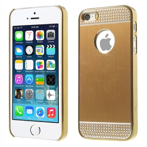 Rhinestone Inlaid Brushed Aluminum Skin Plated Hard Case Shell for iPhone 5s 5 - Gold