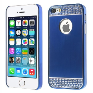Rhinestone Inlaid Brushed Aluminum Skin Plated Hard Back Case for iPhone 5s 5 - Dark Blue