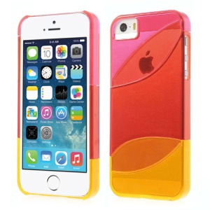 Three Pieces Tri-color Hard Shell Case for iPhone 5s 5 - Rose / Red / Orange